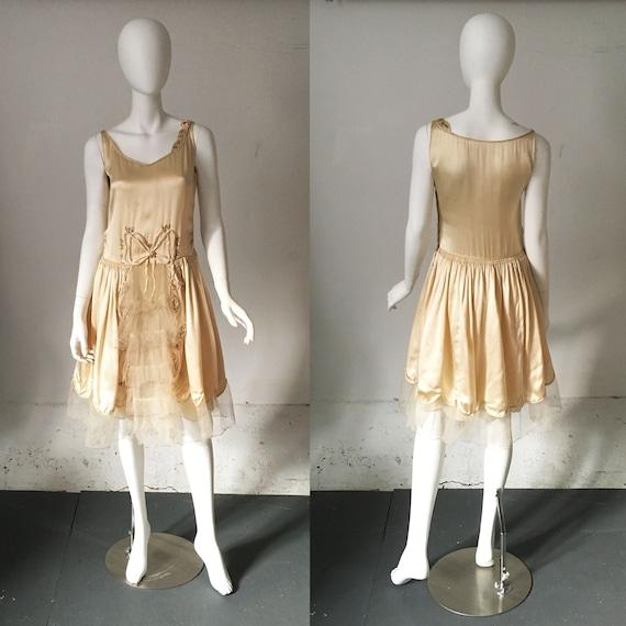 1920s Silk and Net Fairy Bow Dress