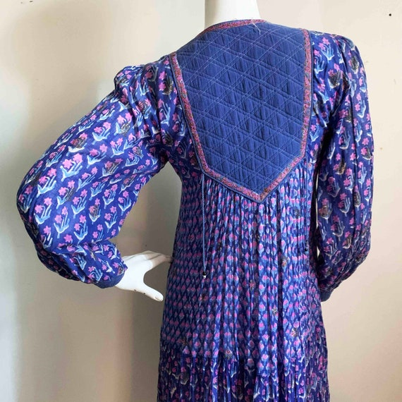 1970s Indian Indigo Cotton Gauze Dress - image 8