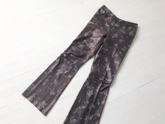 1990s Floral Metallic Purple Leather Pants