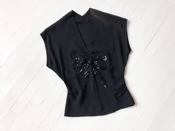 1940s Black Sequin Bow Top