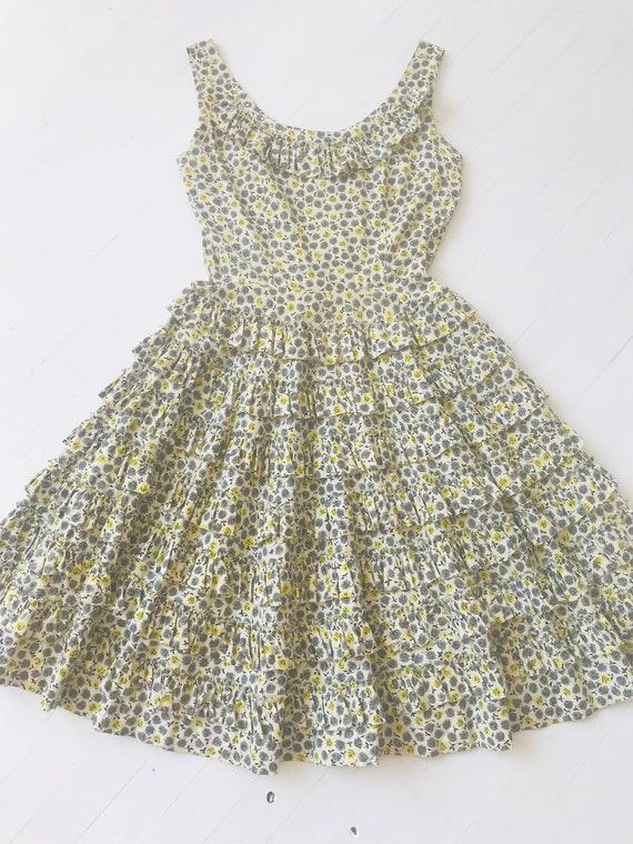1950s Ruffled Rose Print Rhinestone Dress - image 4