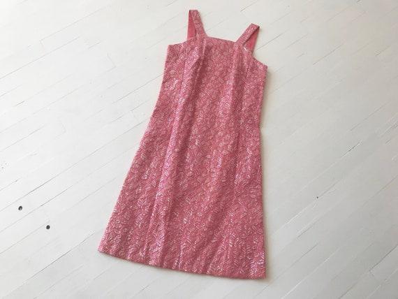 1960s Iridescent Pink Brocade Dress