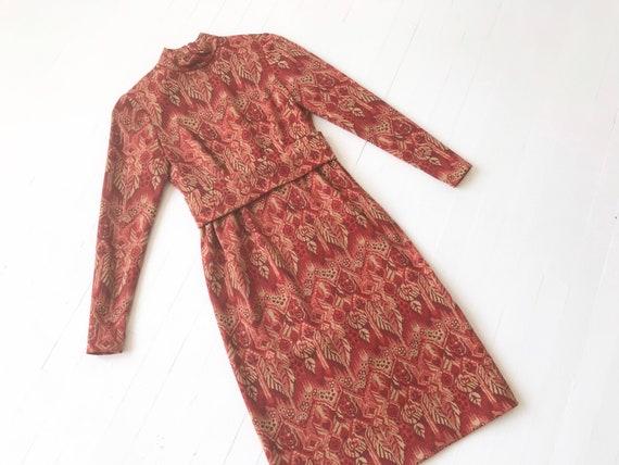 1960s Red Jacquard Knit Dress