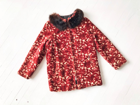 1970s Red Jacquard Tapestry Coat
