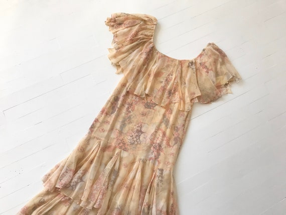1970s-Does-1920s Silk Chiffon Floral Ruffled Dress - image 6