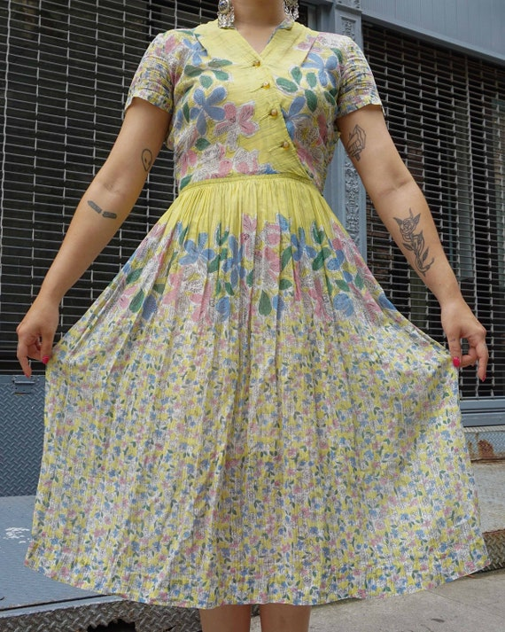 1950s Floral Print Cotton Voile Dress
