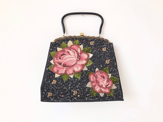 1960s Beaded Floral Top Handle Bag
