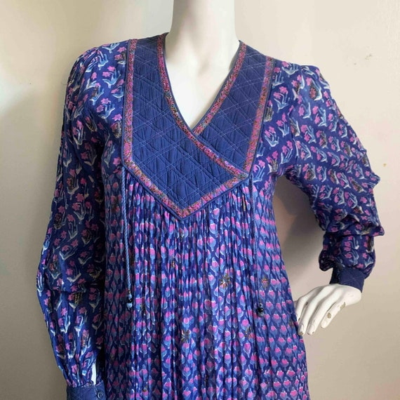 1970s Indian Indigo Cotton Gauze Dress - image 2