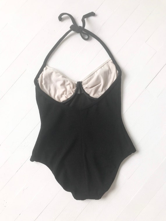 1980s Black + White Striped One Piece Swimsuit - image 5
