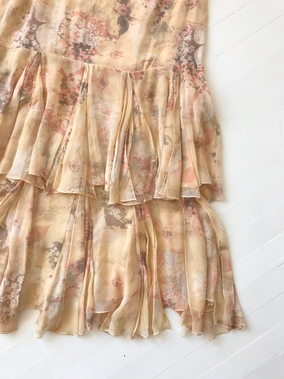 1970s-Does-1920s Silk Chiffon Floral Ruffled Dress - image 8