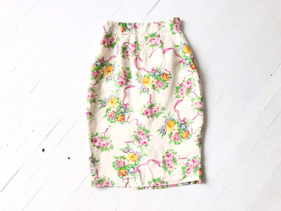 1990s Emanuel Ungaro Floral Pencil Skirt