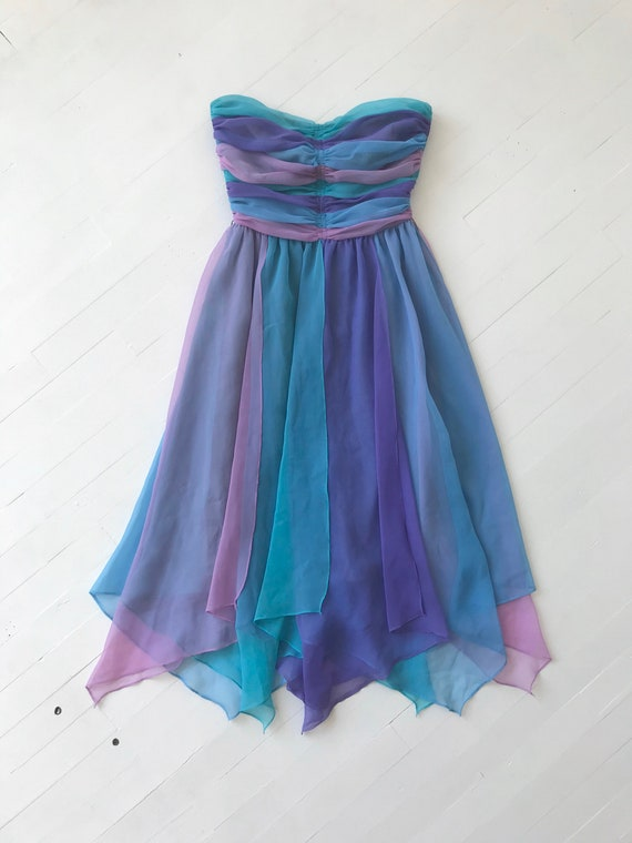1980s-Does-1950s Pastel Colorblock Chiffon Dress - image 3
