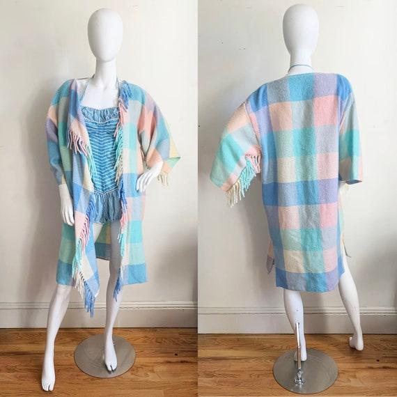 Vintage Pastel Plaid Fringe Sweater