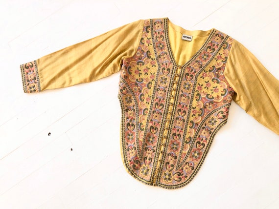 1990s Embroidered Mustard Top
