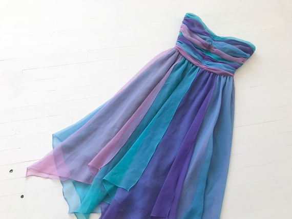 1980s-Does-1950s Pastel Colorblock Chiffon Dress - image 8