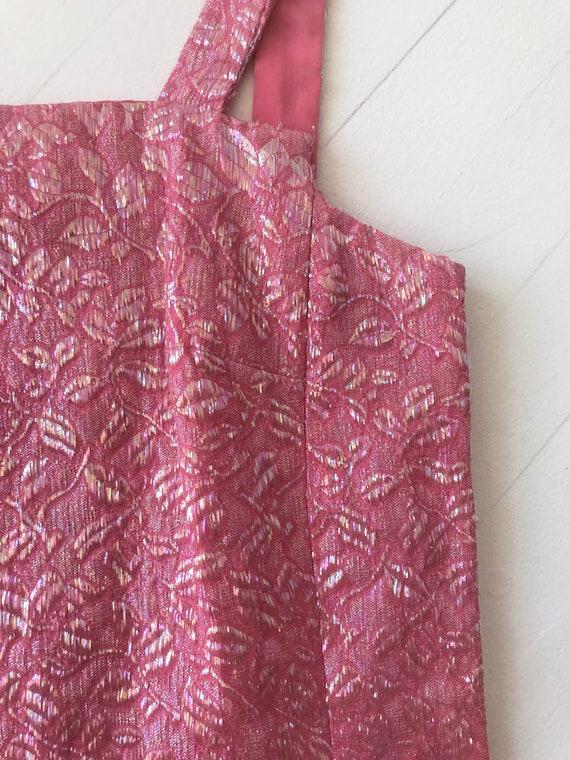 1960s Iridescent Pink Brocade Dress - image 7