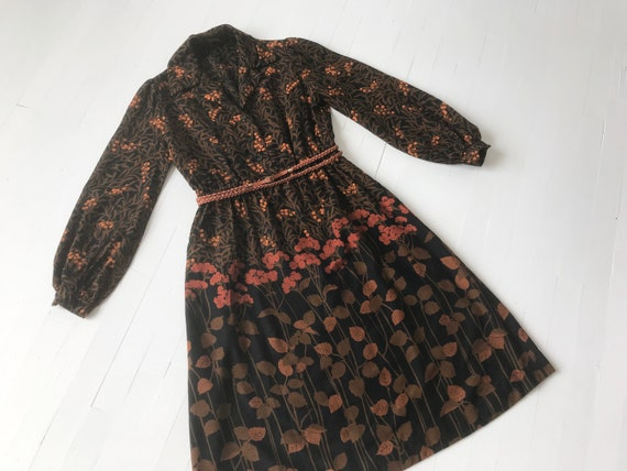 1970s Mollie Parnis Botanical Print Dress