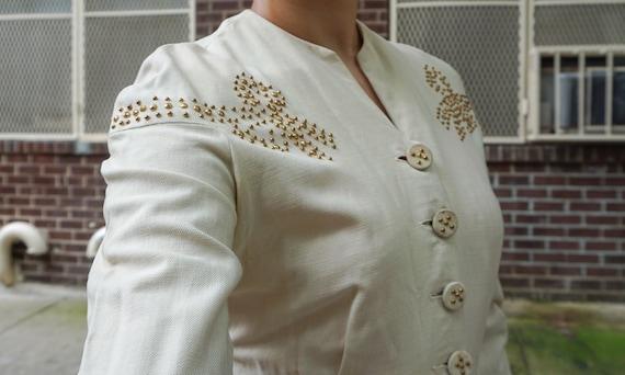 1940s Cream Studded Bow Jacket