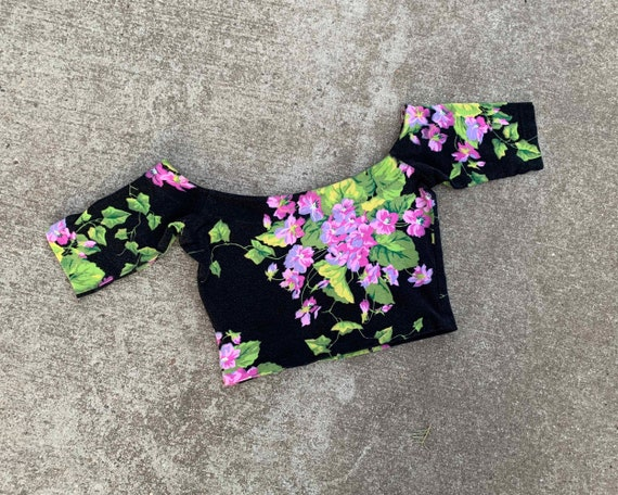 1980s Betsey Johnson Floral Crop Top