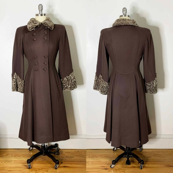 1940s Chocolate Princess Coat