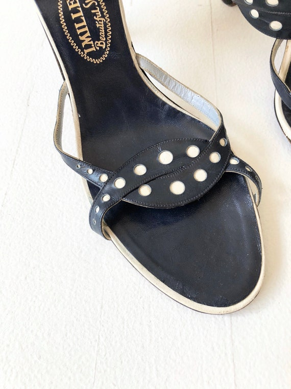 1950s Navy Dotted Strappy Sandals - image 2