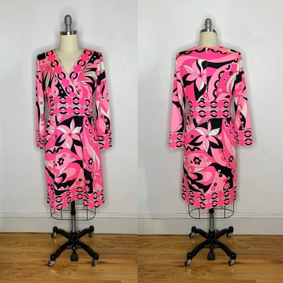 1960s Neon Pink Psychedelic Dress