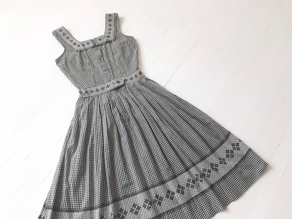 1950s Navy Gingham Cotton Dress