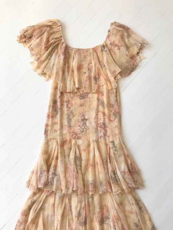 1970s-Does-1920s Silk Chiffon Floral Ruffled Dress - image 3