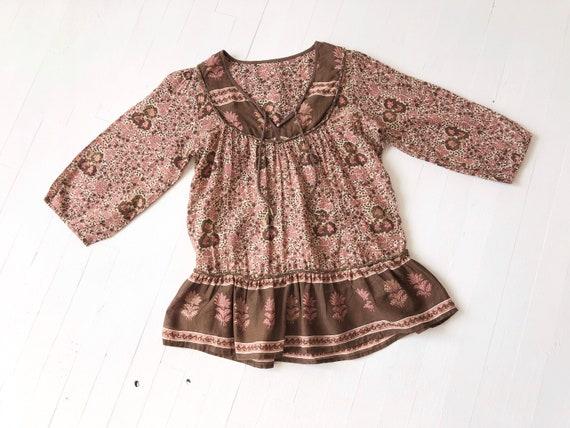 1970s Floral Indian Gauze Blouse