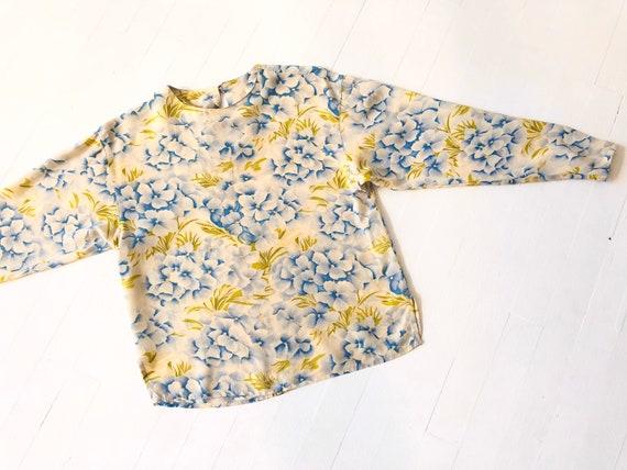 Vintage Hydrangea Print Rayon Top