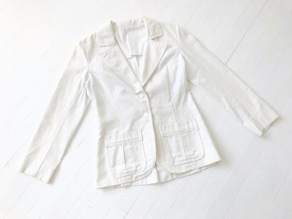 Vintage White Linen Blazer