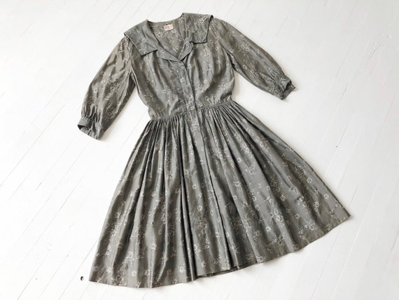 1950s Grey Floral + Butterfly Print Dress