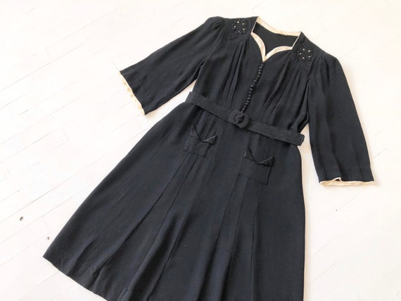 1940s Embroidered Black + White Rayon Crepe Dress