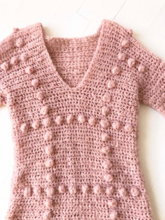 Vintage Dusty Pink Popcorn Knit Sweater - image 2