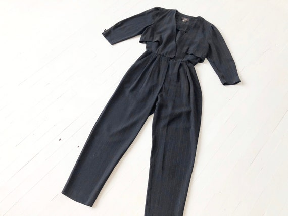 1980s Black Pinstriped Jumpsuit