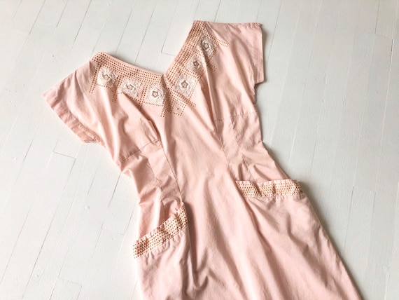 1950s Pink Studded + Embroidered Dress
