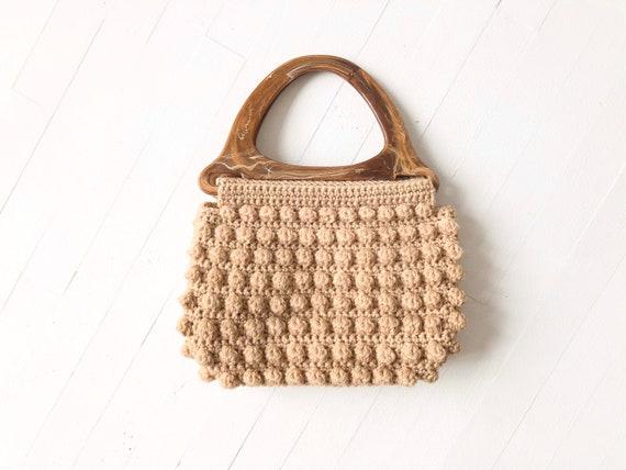 1970s Crochet Popcorn Knit Top Handle Bag