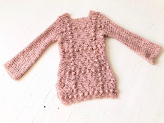 Vintage Dusty Pink Popcorn Knit Sweater - image 3