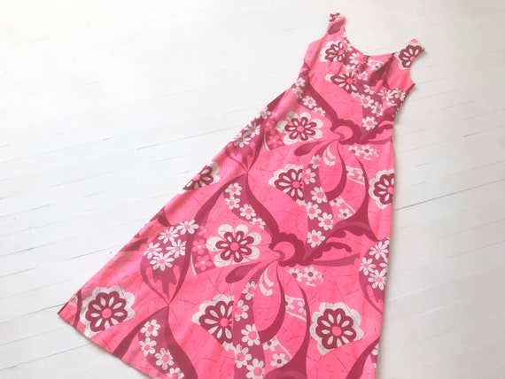 1960s Neon Pink Floral Maxi Dress