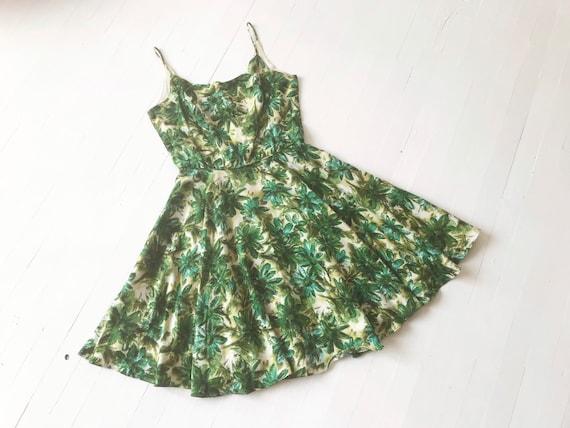 1950s Green Floral Print Dress