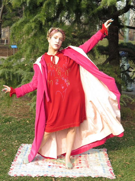 1980s Jean Muir Red Printed Minidress