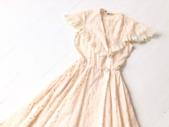 1940s Pale Pink Polka Dot Dress