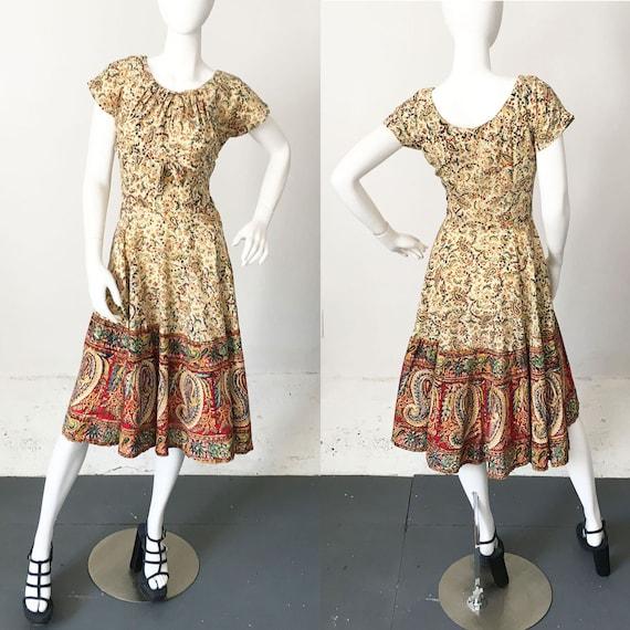 1950s Indian Cotton Paisley Dress