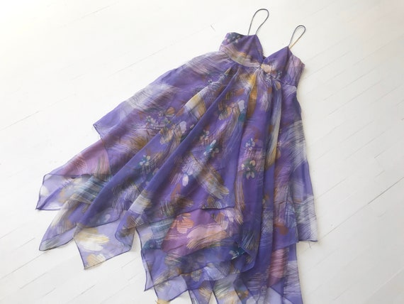 1970s Purple Floral Chiffon Dress with Matching He