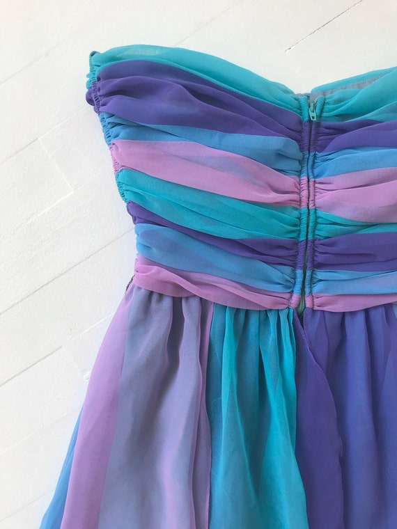 1980s-Does-1950s Pastel Colorblock Chiffon Dress - image 6