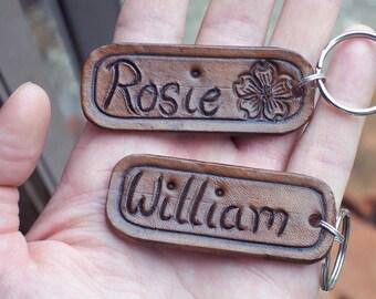 Personalised Hand Tooled Leather Keyrings