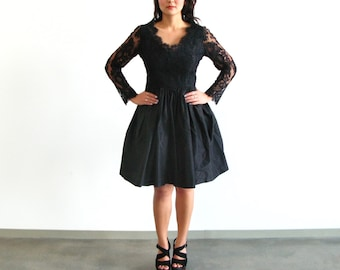 black lace dress - 90s does 60s vintage Catherine Regehr couture designer cocktail party full skirt fit flare long sleeve new look inspired