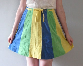 70s panel skirt - vintage yellow green blue a line knee length mini retro button up high waisted cotton boho spring summer paneled medium