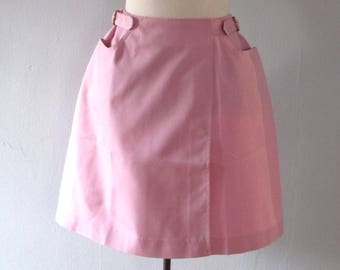 60s pink skirt - vintage deadstock pastel bubblegum retro mod tennis wrap miniskirt high waisted buckle cotton dacron koratron - xs small