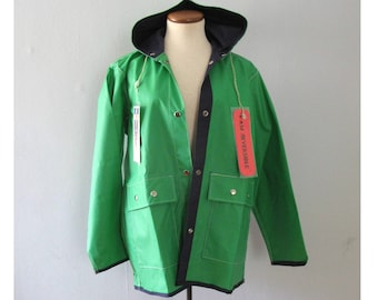 vintage reversible raincoat - 70s Swell-Wear kelly green blue snap up big pocket hooded mod hipster retro PVC parka windbreaker jacket NWT